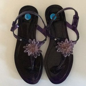Asks fifth ave beaded jelly sandals